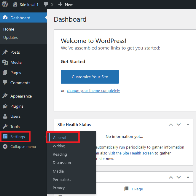 L'administration WordPress réglage général