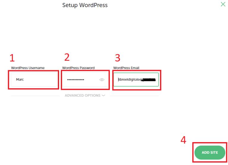 Indication des identifications de WordPress