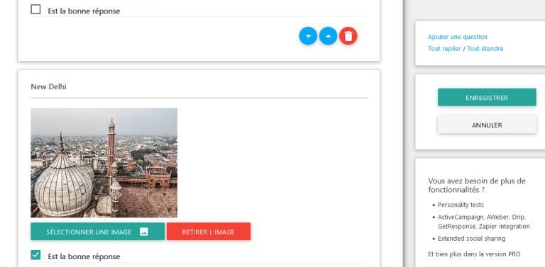 ARI Search Quiz réglage : module : Réponse en image