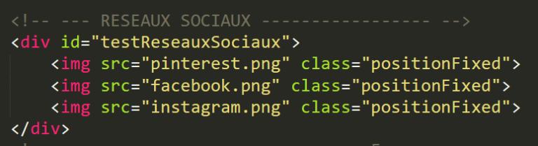 Exemple d'un code HTML avec un élément en position fixed
