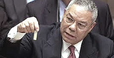 La sceneggiata di Colin Powell all'Onu