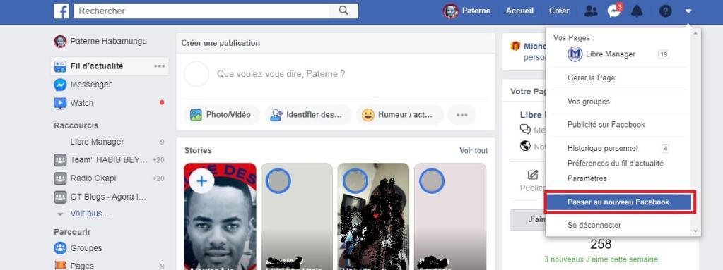 mode sombre sur Facebook