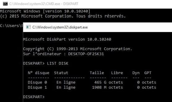 Booter une clé USB avec les commandes DOS