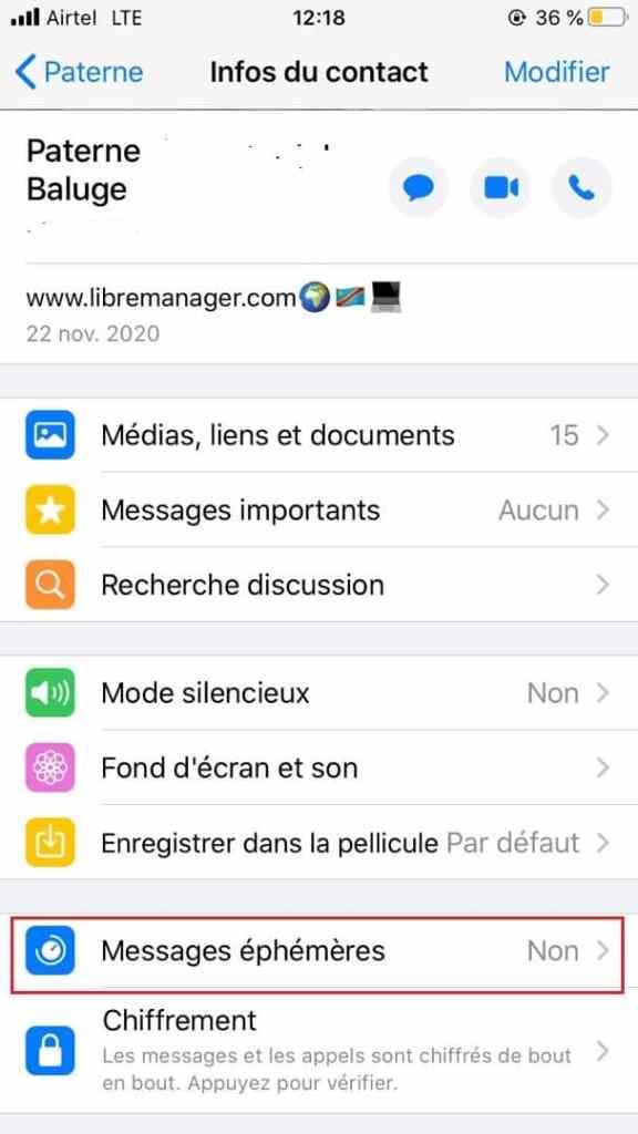 Messages temporaires WhatsApp