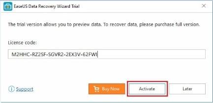 Insérer la clé d'activation EaseUS Data Discovery Wizard