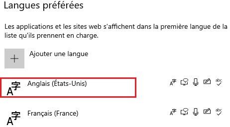 La position de langue de Windows choisie