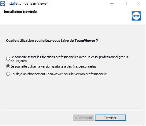 Les étapes d'installation de TeamViewer