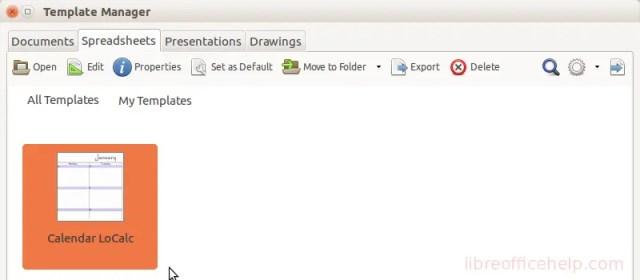 Open Template - LibreOffice Calc