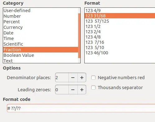 Formatting Cells - Fractions with multiple denom