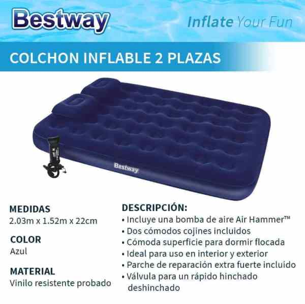 colchon inflable bestway 2 plazas con inflador