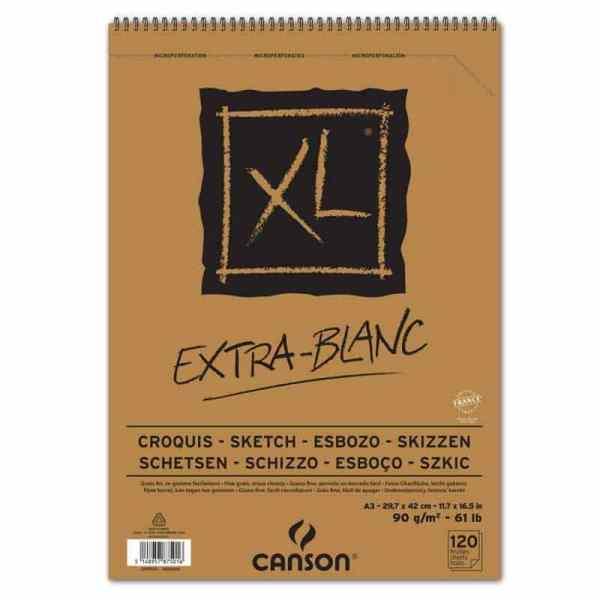 CROQUERA CANSON EXTRA BLANC XL A3 120H 90GR GRANO FINO BORRADO FACIL