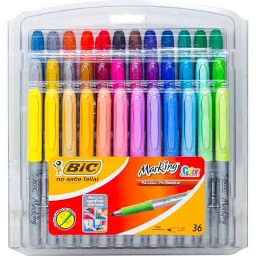 Marcadores bic set 36 colores permanentes punta 1.1mm