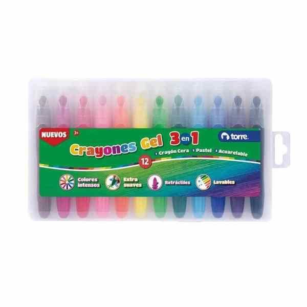 crayones gel 3en1 torre 12 colores 29915