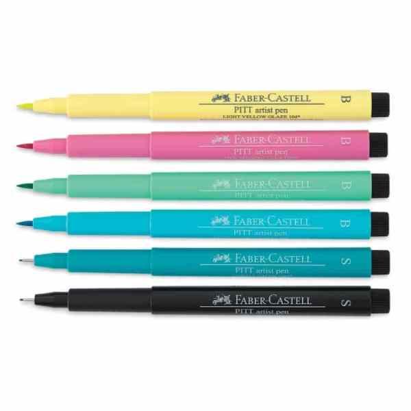 Set-6-Rotuladores-para-Lettering-Faber-Castell-PITT-Artist-Pens-Creative-Studio-Pastel-Contenido