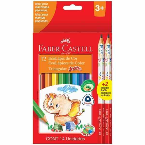 LAPICES JUMBO FABER CASTELL 12 COLORES+2 GRAFITOS