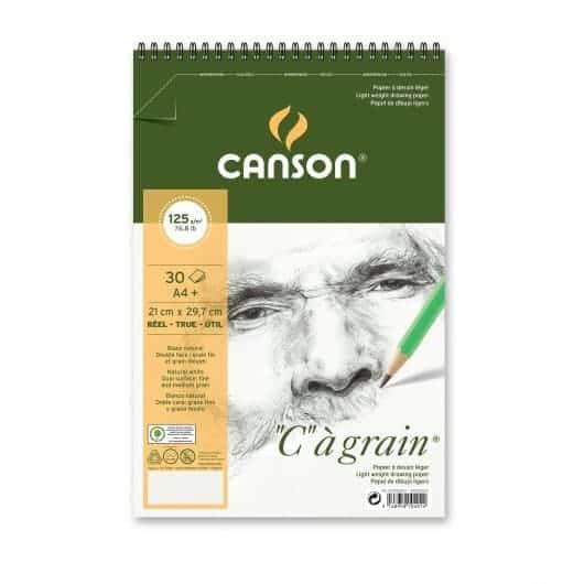 CROQUERA CANSON C A GRAIN TAMAÑO A4 30H 125GR PARA TÉCNICAS SECAS, DOBLE FAZ.