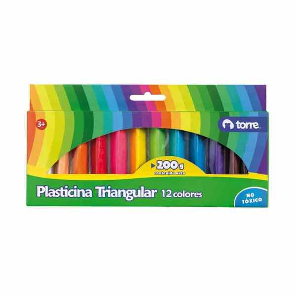 PLASTICINA TRIANGULAR 12 COLORES TORRE 30539