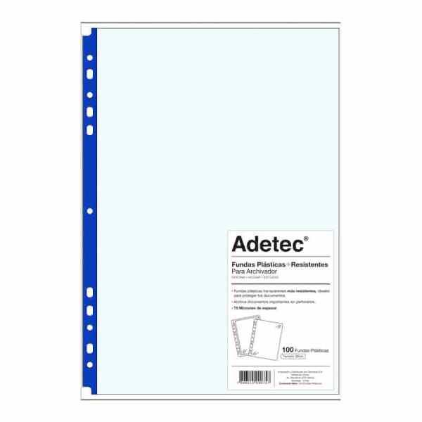 FUNDA PLASTICA OFICIO BORDE AZUL ADETEC 9075