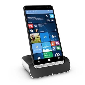 HP Desk Dock with HP Elite x3, Right facing