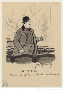 """Georges Feydeau, auteur de """"La puce à l'oreille"""" aux Nouveautés : dessin de Yves Marevéry (1907)"""