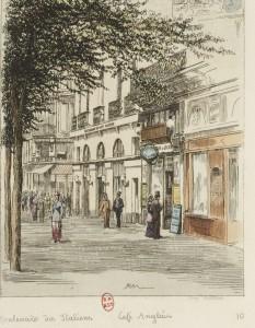 Boulevard des Italiens : Café anglais : estampe 1877 / APM [Potémont] . Source BnF/ Gallica