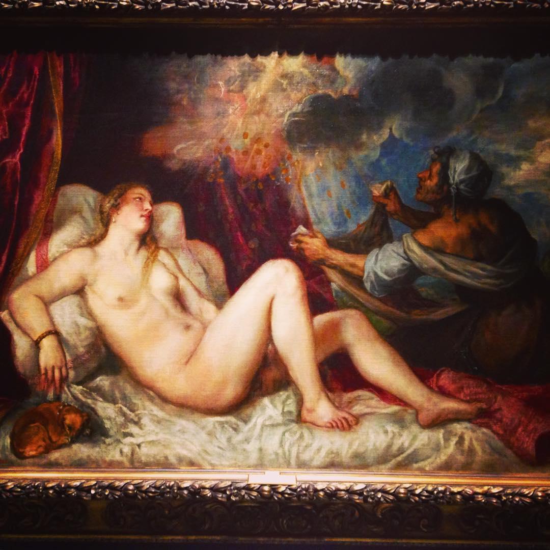 Musée du Prado, Madrid, Espagne. La composition représente le mythe grec de Danaé, enfermée par son père, Acrisios, le roi d'Argos, à cause d'un oracle prédisant qu'il mourrait de la main de son petit-fils.