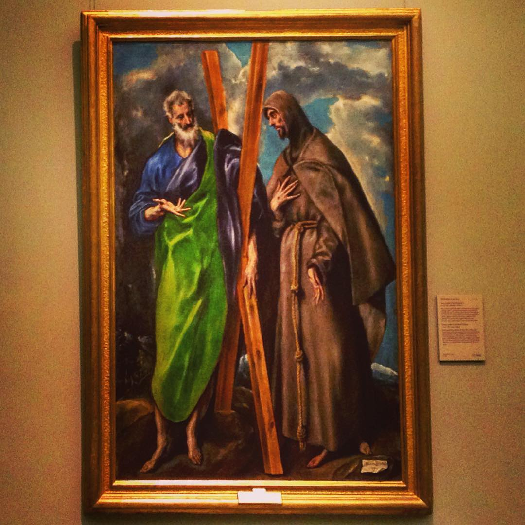 Narcissique à tendance mystique. Musée du Prado, Madrid, Espagne. Saint André l'Apôtre et Saint François d'Assise.