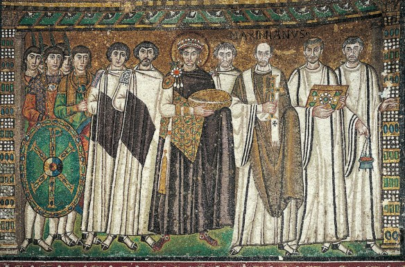 Mosaic of Justinian and Retinue, San Vitale Basilica, Ravenna, c. 546