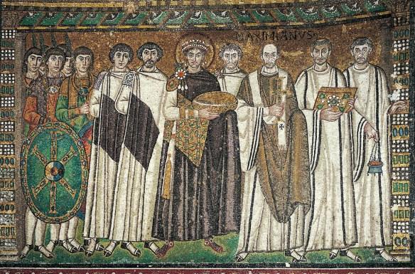 Mosaic of Justinian and Retinue, San Vitale Basilica, Ravenna, c. 546