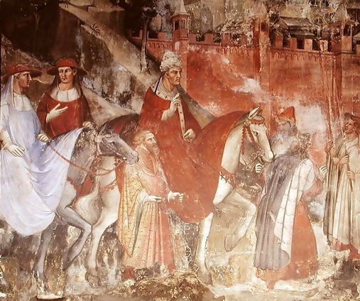 The Entrance of Pope Alexander III and Emperor Frederick Barbarossa into Rome, fresco detail, Spinello Aretino, 1407, Palazzo Pubblico, Siena, Italy