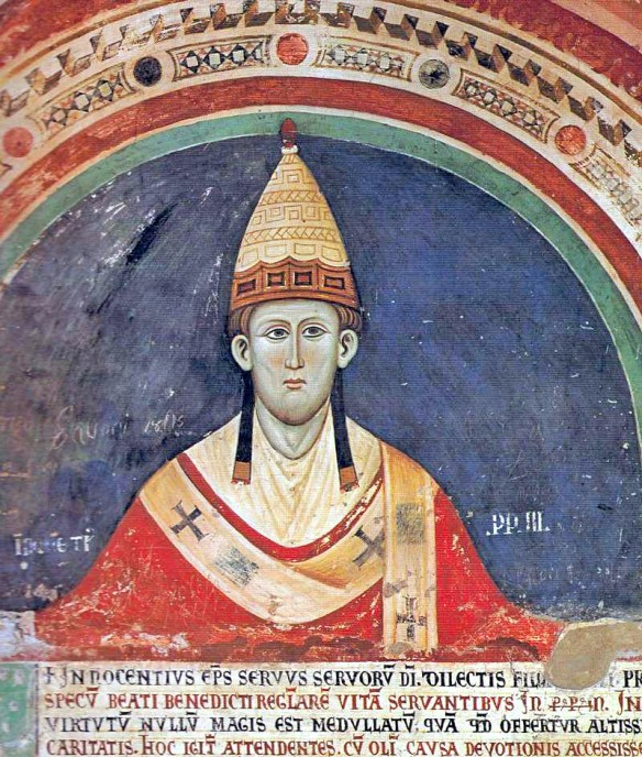 Innocent III: contemporary fresco portrait (early 1200s) by Magister Conxolus, Sacro Speco - near Subiaco