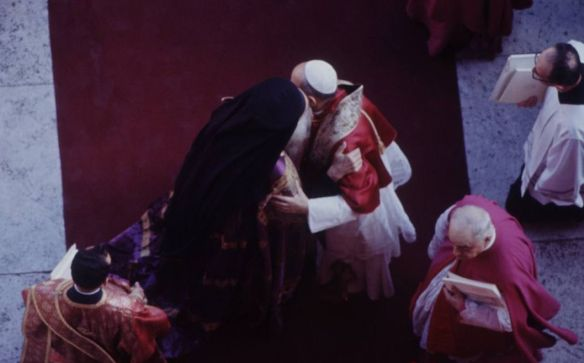 Pope Paul VI and Patriarch Athenagoras I embrace