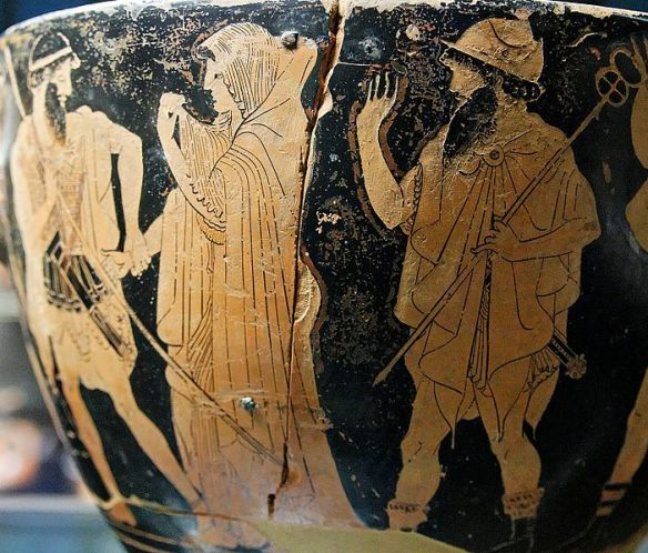 The abduction of Briseis by Agamemnon. Attic skyphos, signed by the potter Hieron and attributed to Macron, early the fifth century BC.