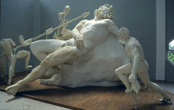 The blinding of the giant Polyphemos by Odysseus and his companions. Reconstruction of sculpture fragments found on the villa grounds of Emperor Tiberius at Sperlonga, Italy.