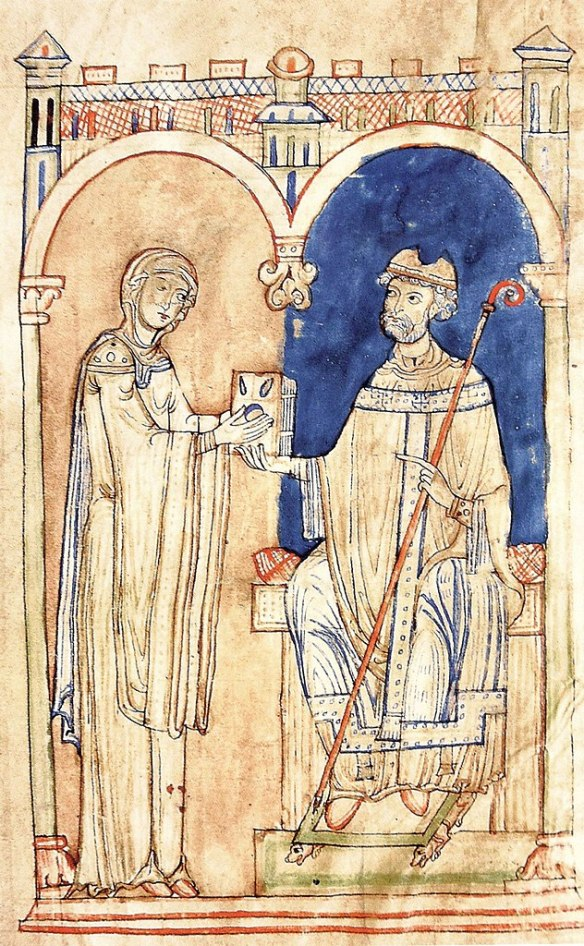 St. Anselm hands over his writings to Mathilde. Anselm of Canterbury, Orationes, Diocese of Salzburg, around 1160. Admont, Stiftsbibliothek, Ms. 289, fol. 1v.