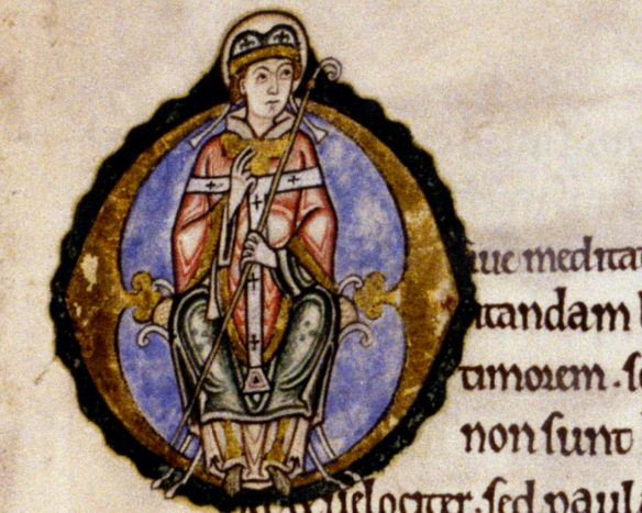 St. Anselm enthroned as archbishop, Composite manuscript. MS. Auct. D. 2. 6, pt.III ( = fols.156-200), St. Anselm's Prayers and Meditations in a copy made c.1130-40 for a house of white canons, Bodleian Library, Oxford.