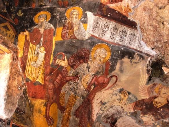 Martyrdom of St. Ignatius of Antioch, fresco, Sumela monastery in Trabzon province, Turkey.