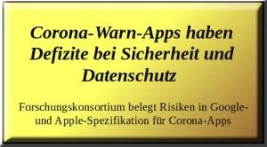 Corona-Warn-Apps haben Defizite bei Sicherheit und Datenschutz