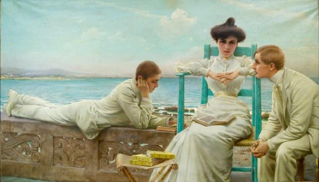 Ritratto di signora con due adolescenti di Vittorio Matteo Corcos