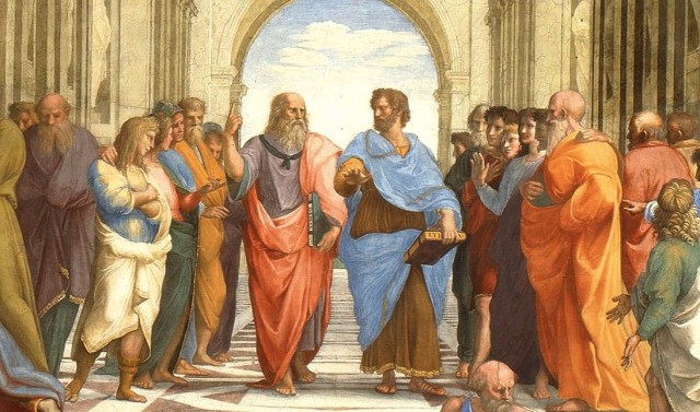Aristotele e Platone ne La scuola di Atene (1509-1511) di Raffaele Sanzio