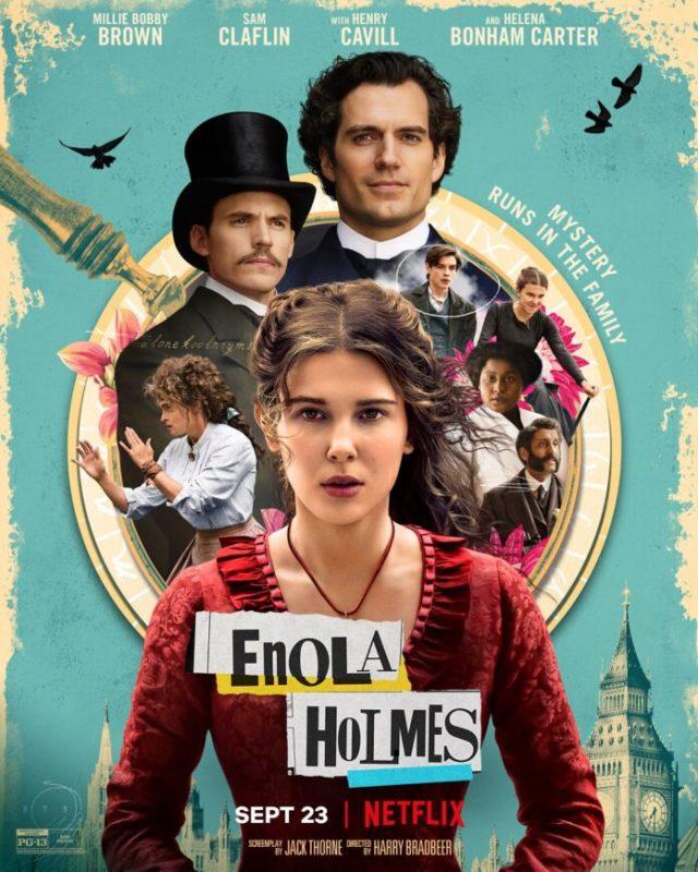 Poster in azzurro di Enola Holmes nuovo fil Netflix