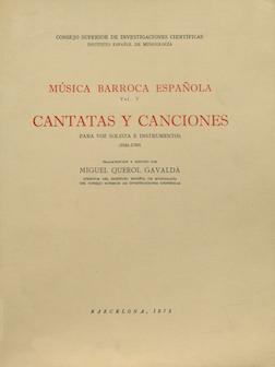 Música barroca española. Volumen V. Cantatas y canciones para voz solista e instrumentos (1640-1760)
