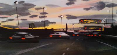 La autopista que sigo. Tras la rasante, una cortina de luz