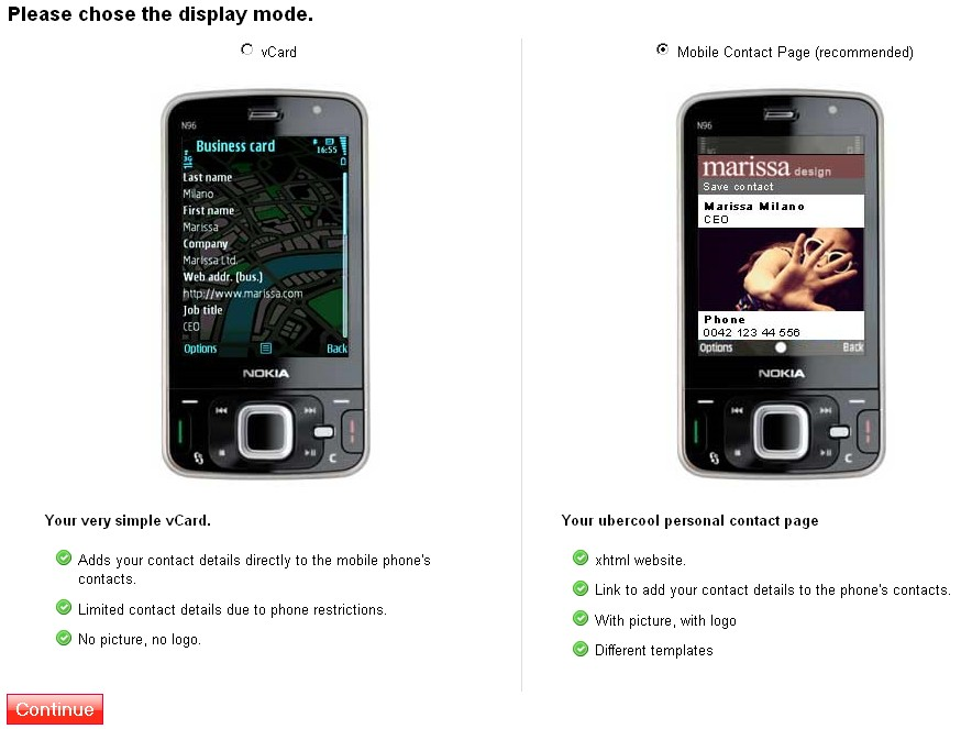 2. Choose a display mode for your mobile contact page.