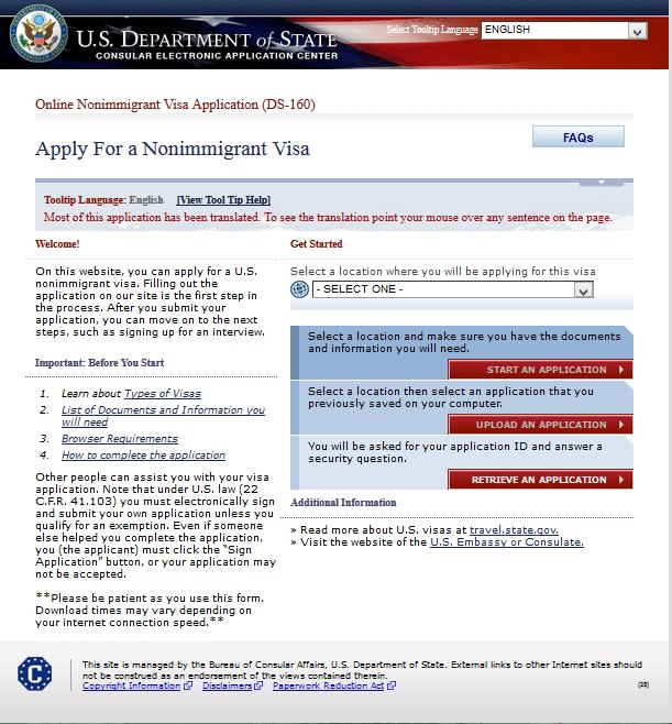 Aplikasi Visa Amerika Non-Imigran (DS-160) Secara Online.