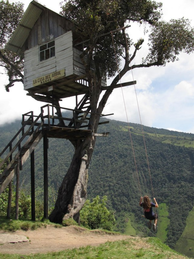This swing is mounted on a tree house used to observe volcanoes.