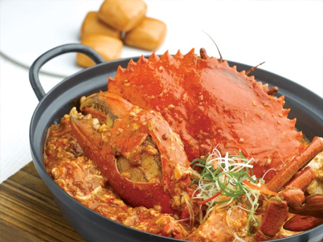 Chilli Crab, a typical Singaporean menu