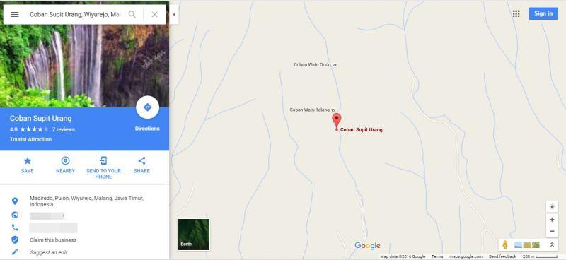 Peta Lokasi Air Terjun Cuban Supit Urang di Google Maps
