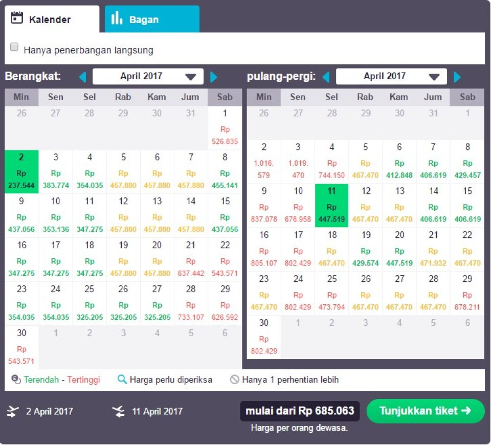Pick a promo ticket to Singapore at the cheapest price, in the cheapest month
