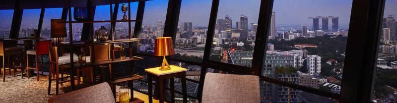 Pemandangan dari Meritus Club Lounge yang berada di lantai 38 dan 39